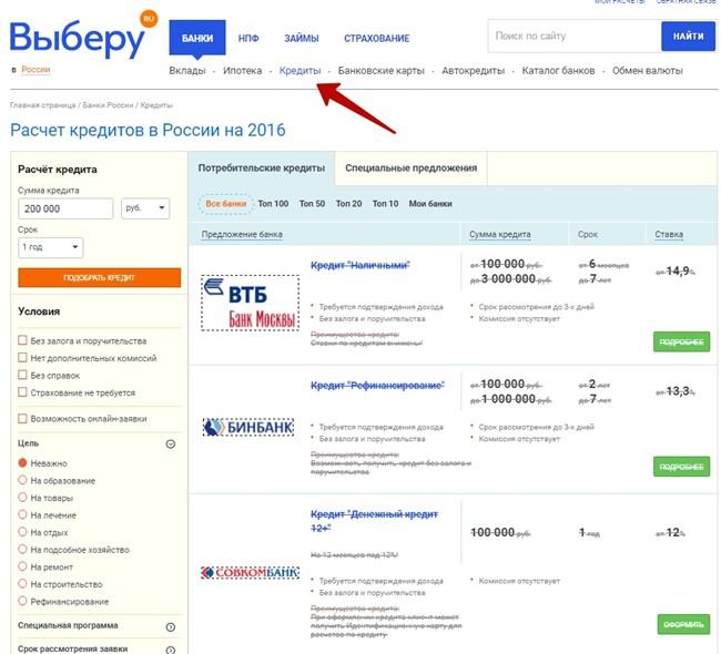 оформить заявку на кредит на Выберу.ру